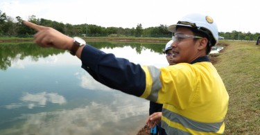 A Lynas staff in charge of its treated waste-water retention pond said that schools of fishes lives inside the pond.