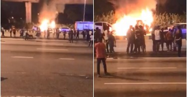 Eighteen cars and two motorcycles were torched in the incident at the Sri Maha Mariamman Temple.