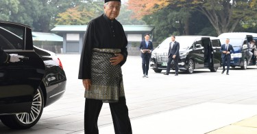 Tun Dr Mahathir Mohamad arrives at the Imperial Palace to receive the Grand Cordon of the Rising Sun, Paulownia Flowers at the decoration ceremony in Tokyo.