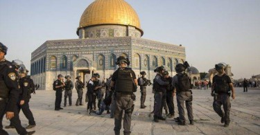 Israeli security forces in front of the Dome of the Rock in the Haram al-Sharif compound in the old city of Jerusalem.