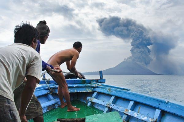 An Anak Krakatau volcano eruption.