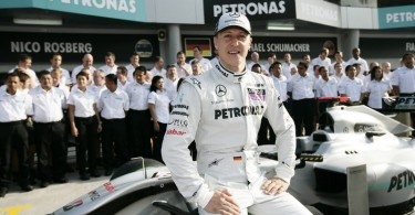 Michael Schumacher in  2012. Mercedes AMG Petronas is his last team in Formula One.