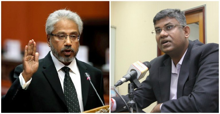 Left - Minister in the Prime Minister's Department P Waytha Moorthy, right - Selangor exco V Ganabatirau
