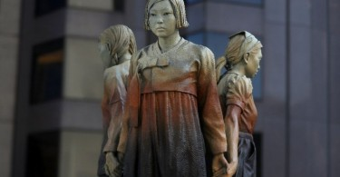 "The statue ""Comfort Women"" Column of Strength by artist Steven Whyte is displayed at St. Mary's Square in San Francisco. The city of Osaka ended its sister-city status with San Francisco when the statue was installed last year."