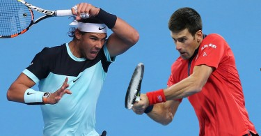Nadal (left) will play Djokovic in the Australian Open final for the second time after the 2012 final won by the latter.