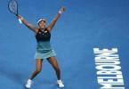 Triumphant Osaka after beating Pliskova to reach her first Australian Open final.