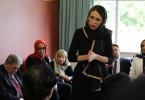 New Zealand Prime Minister Jacinda Ardern meets representatives of the Muslim community at Canterbury refugee centre in Christchurch on Saturday.