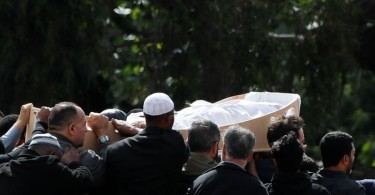 The body of a victim of the mosque attacks  being carried during the burial ceremony at the Memorial Park Cemetery in Christchurch today.