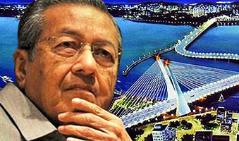 Tun Dr Mahathir Mohamad and an artist impression of the cancelled crooked bridge which was to replace the Malaysian side of the Causeway connecting Johor Baru and Singapore.