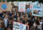 Students take part in the global school strike for action on climate change outside New Zealand's parliament in Wellington, New Zealand.