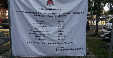 Pasar TTDI parking rates