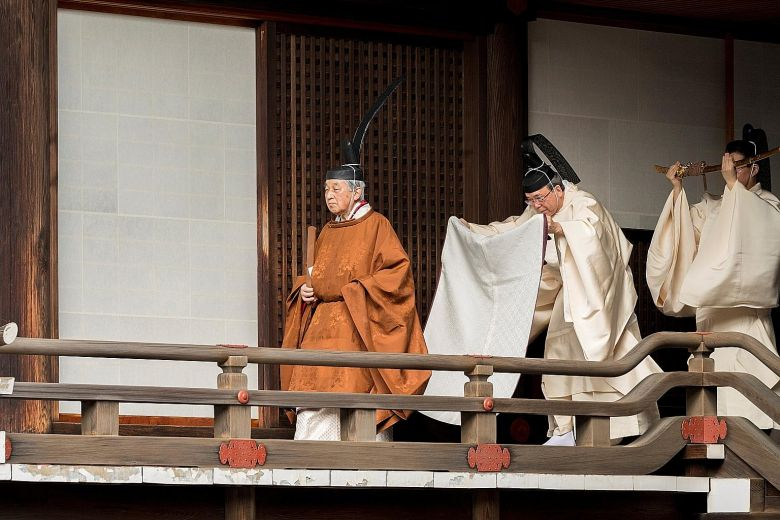 Emperor Akihito at the Imperial Palace for a ritual in which he announced his abdication to his ancestors and deities.