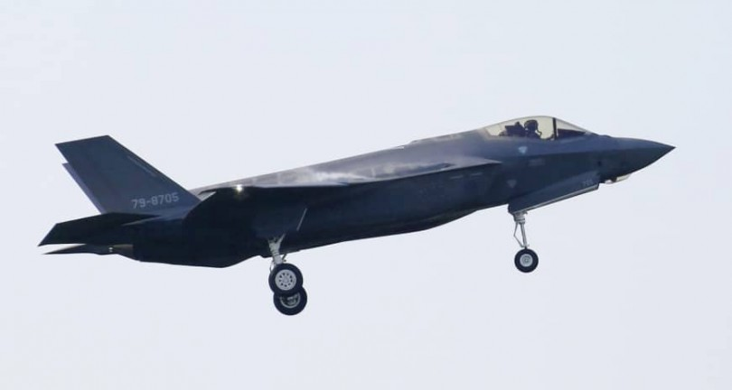 The Japanese F35 which crashed yesterday.