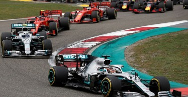Mercedes AMG Petronas driver Lewis Hamilton leading the race in Shanghai yesterday.