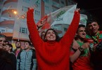Supporters of the pro-Kurdish Peoples' Democratic Party (HDP) celebrate after the local elections, in Diyarbakir, Turkey yesterday.
