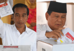 Jokowi (left) and Prabowo at the polling centres.