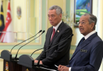 Lee Hsien Loong and Tun Dr Mahathir Mohamad at the joint press conference today.