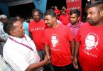 Dr Streram meeting his supporters at Pakatan Harapan's operation center in Bandar Ekar, Rantau.