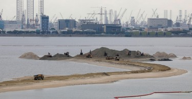 Land reclamation near Singapore's Tuas industrial area.