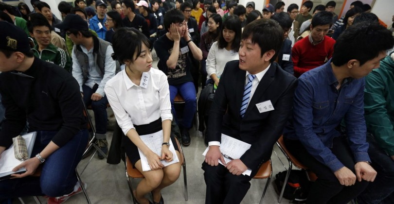 Candidates at a job interview in South Korea