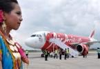 An AirAsia's Airbus A320 AirAsia at Bandara International Airport at Praya, Lombok.