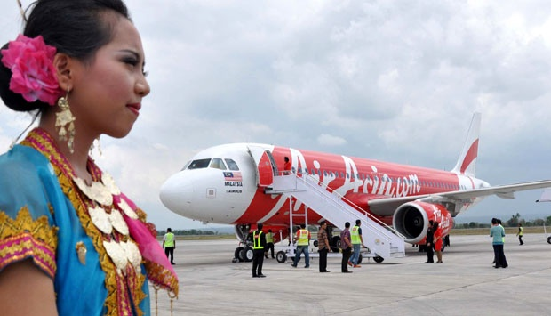 An AirAsia's Airbus A320 AirAsia at Bandara International Airport at Praya, Lombok.