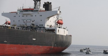 The Al Marzoqah oil tanker on Monday, a day after it was attacked outside the Fujairah port in the United Arab Emirates.