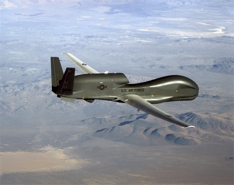 A US Airforce's RQ-4 Global Hawk drone which is capable of recording intelligence, surveillence and reconnaissance data.