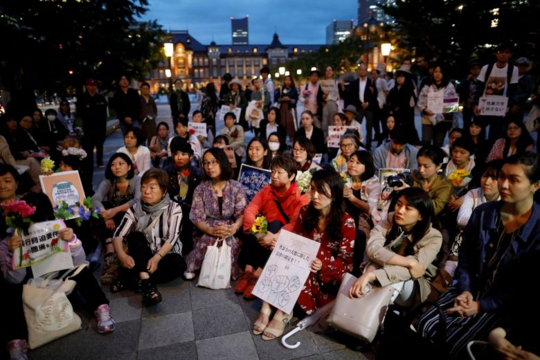 Protesters gather at a rally to call for revision of an anti-rape law in Tokyo.
