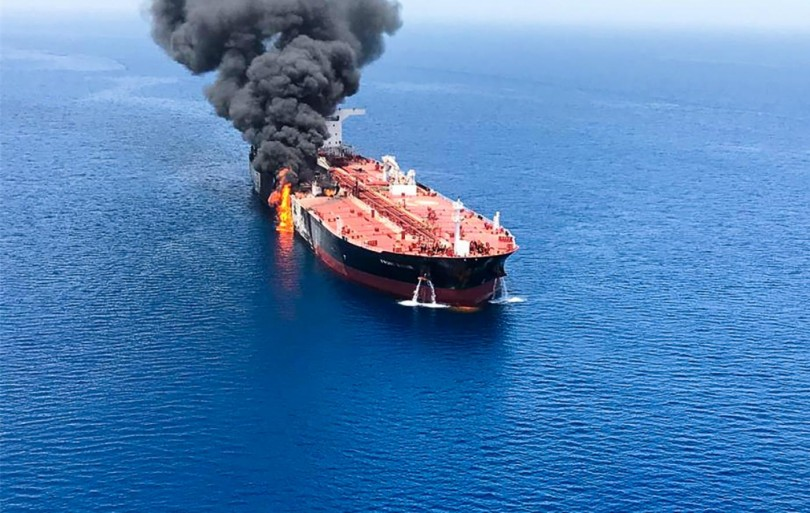 Tanker Front Altair on fire  after the attacks yesterday morning.