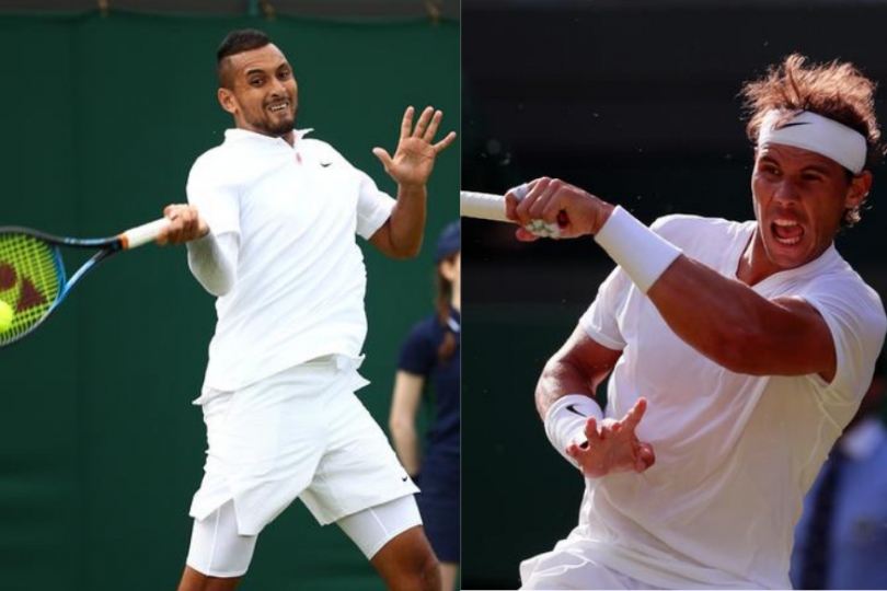 Nadal (right) goes to the third round after beating Kyrgios in a four-set thriller.