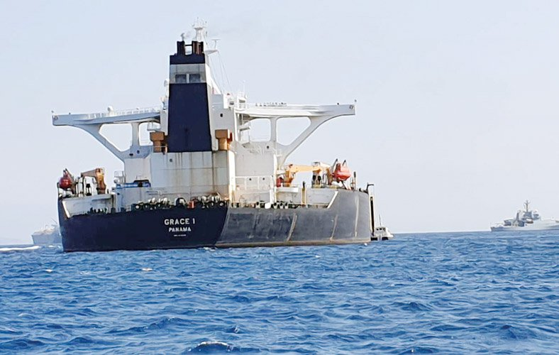 Iranian supertanker Grace 1 whiich has been detained by British authorities in Gibraltar.