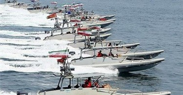 Iran's Navy combat and patrol vessels in the Persian Gulf.
