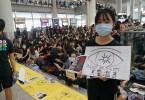 Protesters at Hong Kong International Airport.