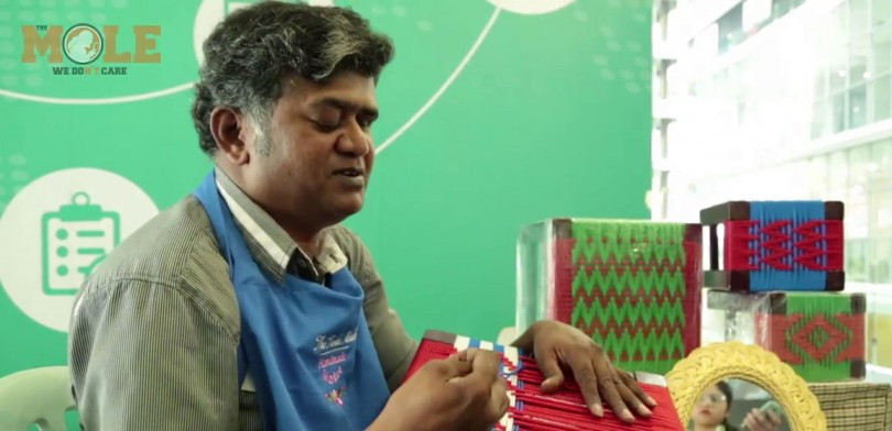 """Weaving is a lot like reading braille actually. You just have to feel the dents and notches of the mesh. Every pattern has a set number of dents. If you weave accordingly you can't go wrong,"" said V. Saravanan, Malaysia's blind weaver."