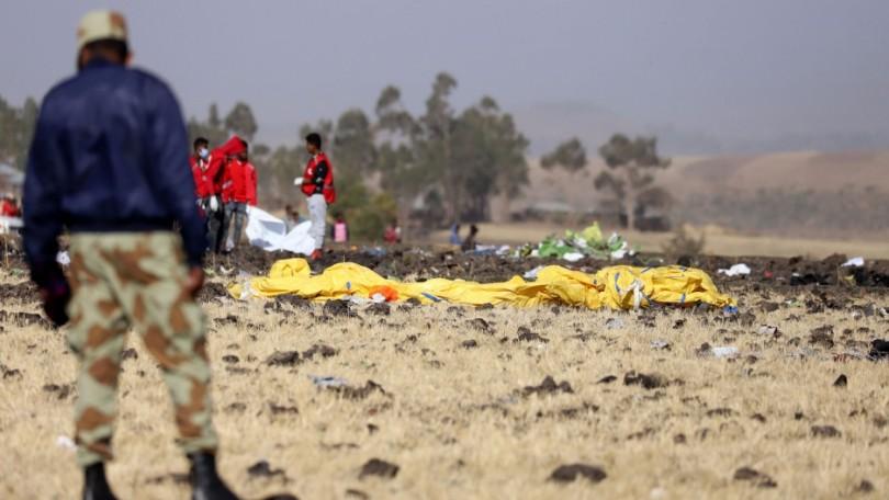 The scene of the crash in Ethiopia.