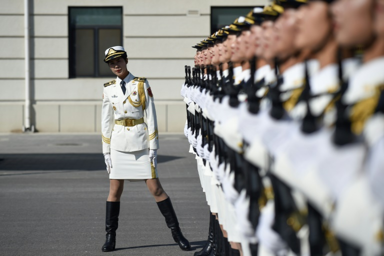 Soldiers at the rehearsal of  military parade in Beijing on Oct 1.