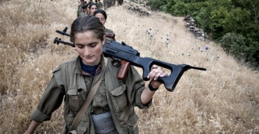 Kurdish female fighters deploying to the frontline
